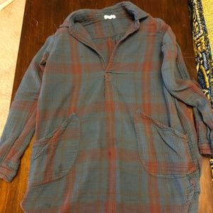 Free People Plaid Long Flannel Shirt Size XS